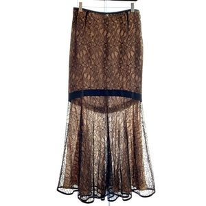 Ron Et Normand Lace & Silk Skirt